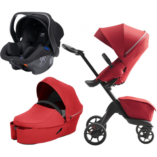 Stokke Xplory X Duovagn inkl. Axkid Modukid Babyskydd, Ruby Red